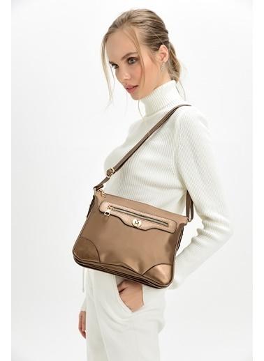TH Bags TH Bags 26 x 22 x 15 cm Askılı Fermuarlı İÇ Cep Soft Saten Suni Deri Bakır Kadın Çanta Bakır